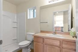 Main floor bath has bathtub-size step-in shower