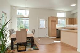 High ceiling & south-facing windows in Dining, Kitchen