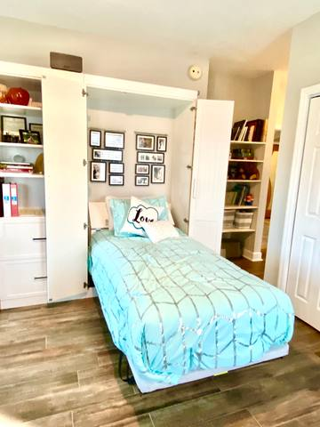 Guest Bedroom #2 - Custom made Murphy's Bed transforms from shelf to Twin Size Bed